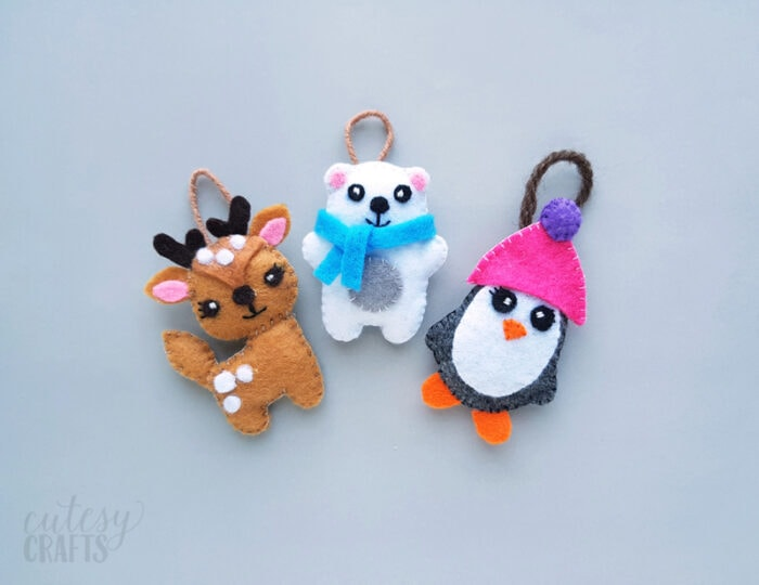 Felt Christmas Ornaments with Free Patterns