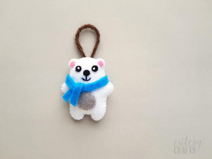 Felt Polar Bear Christmas Ornament with Free Pattern