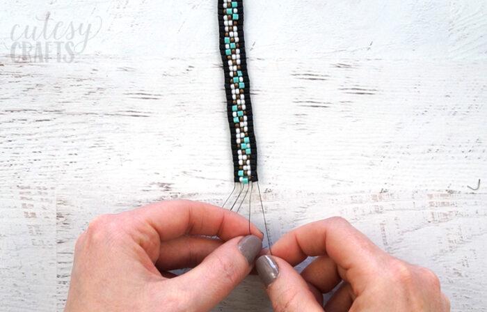 Tie off bead loom bracelet.