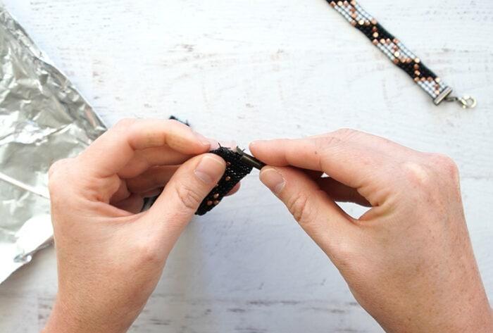 Bead loom bracelet clasps.