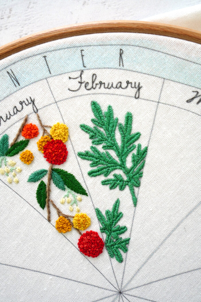 phenology wheel embroidery