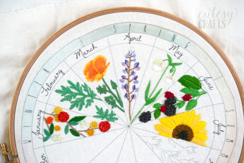 Phenology Wheel Floral Embroidery Project