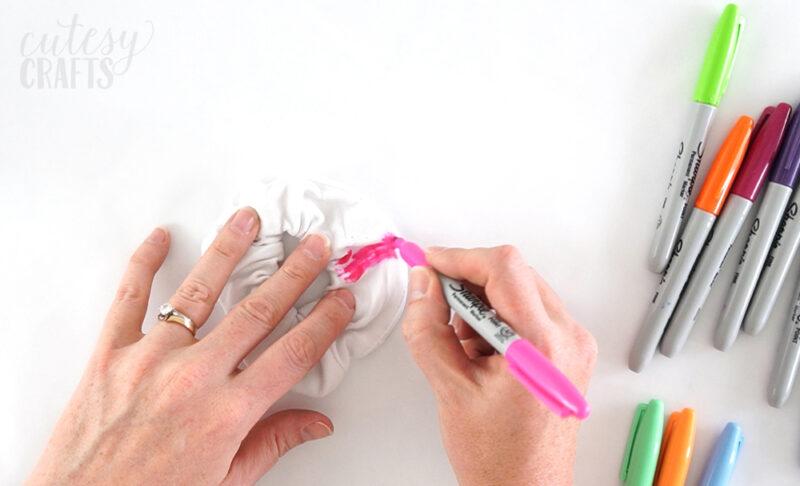 DIY scrunchies with Sharpie Dye