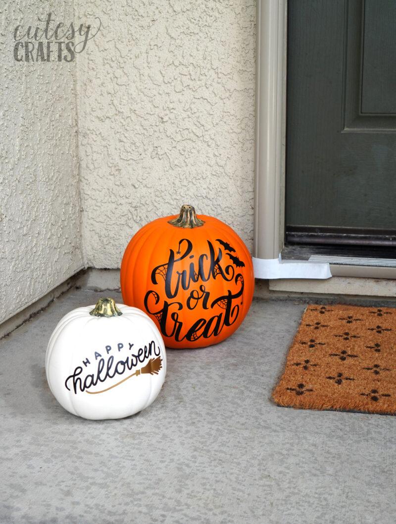DIY Halloween Decor - Vinyl on Pumpkins